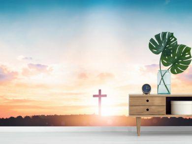 Resurrection of Jesus Christ concept: God Lamb in front of the cross of Jesus Christ on sunrise background