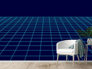 Perspective grid background. Abstract vector wireframe landscape. Abstract mesh background. Vector illustration.