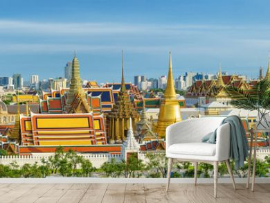 Panorama view of grand palace and emerald buddha temple in Bangkok.