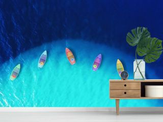 Boats from air. Aerial view on sea. Summer seascape with clear water in sunny day. Top view of boats from drone. Summer seascape from air. Travel - image