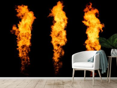 Set of three fire jets isolated on black, flame collection