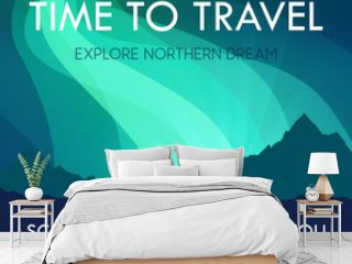 Scandinavia Travel Banner template - Scenic Landscape with Aurora Northern Lights and labels and offer to travel. Vector Scandinavian Nature with Northern Mountains.