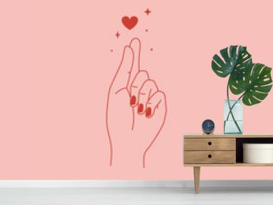 Vector abstract logo and branding design template in trendy linear minimal style - heart made with hands - self love concept - tattoo or sticker design template