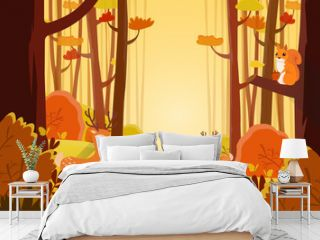 Landscape view of forest path in autumn. Two deer and squirrel finding food among the bushes. Orange, yellow bushes, road and trees. Colorful atumn jungle in cartoon style. Flat vector illustration.