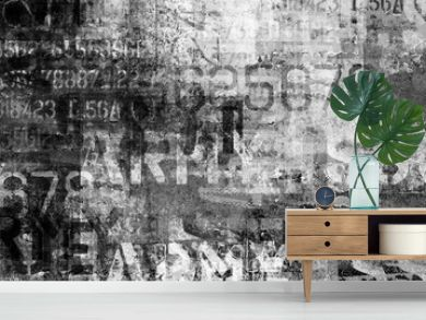 Abstract grunge lettering background.  Urban cyber punk wide illustration