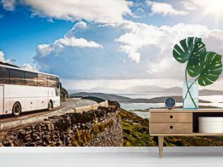 White tourist bus traveling
