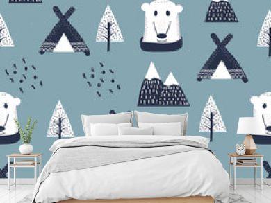 Scandinavian style kids, baby texture for fabric, textile, pyjamas, apparel. Hand drawing, white bears seamless