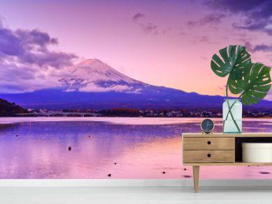 View of the Mount Fuji from Lake Kawaguchi at dawn in Japan.