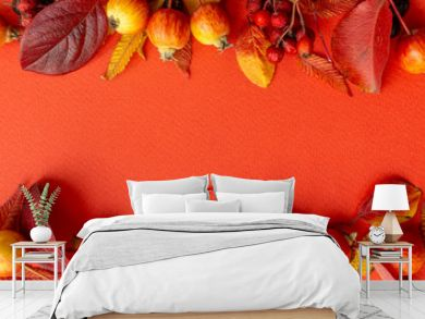 Fall background. Fall leaves frame on a red background