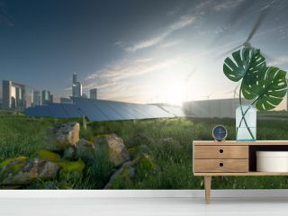 Future renewable energy solution for sustainable cities. Modern black frameless solar panels, battery energy storage facility, wind turbines and big city with skycrapers in background. 3d rendering.