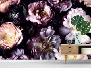 Vintage bouquet of beautiful peonies on black. Floral background. Baroque old fashiones style. Natural flowers pattern wallpaper or greeting card