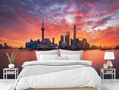 sunrise over Lujiazui skyline and Huangpu river, Shanghai, China