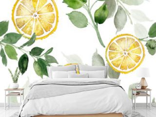 Seamless watercolor pattern with lemons on a light blue background