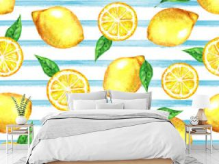 watercolor seamless pattern with lemons on blue color striped background. Colorfull briht summer seamless background for textile, wallpapers, print and banners. Healthy food concept.