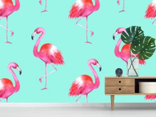 Hand drawn watercolor flamingos seamless pattern on blue background. Summer bright illustration. Perfect for fabric textile, banners, print