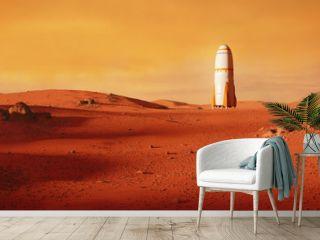 landscape on planet Mars, rocket landing on the red planet