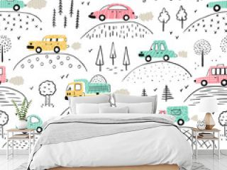 Cartoon Transportation Background for Kids. Vector Seamless Pattern with doodle Toy Cars and Nature with Hills and Trees