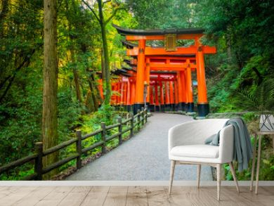 Japan. Kyoto. The orange gates of Fushimi Inari Shrine. Fushimi Inari Taisha Temple. The mountain of Inariyama in Japan. Entrance to the torii Shinto temple in Kyoto. Orange gate among the trees.