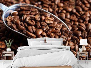 Coffee beans roasting full background, banner