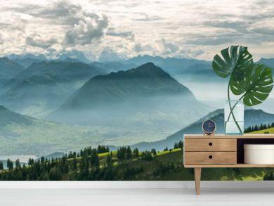 Beautiful panoramic view on Swiss Alps around Lake Lucerne as seen from top of Rigi Kulm peak