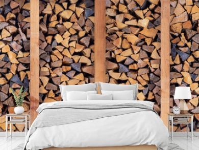 woodpile for fireplace, background of firewood, panorama