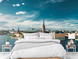 Stockholm, Sweden. Scenic View Of Stockholm Skyline At Summer Evening. Famous Popular Destination Scenic Place. Riddarholm Church In Panorama Panoramic View