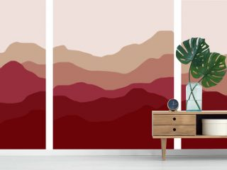 red mountains and hills minimal landscape illustration set red clay colorful foggy environments vector simple art