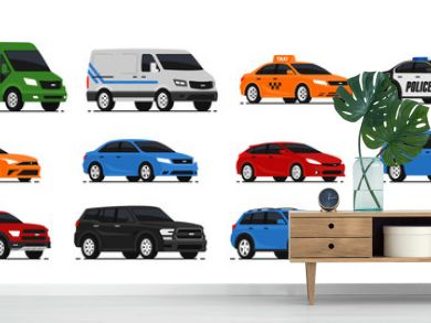 Car icons collection. Vector illustration in flat style. Urban, city cars and vehicles transport concept. Isolated on white background. Set of of different models of cars