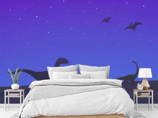 dinosaurs, velociraptor, sauropod and pterodactyls at night vector illustration