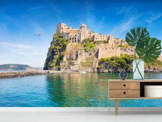 Aragonese Castle is most popular landmark in Tyrrhenian sea near Ischia island, Italy.