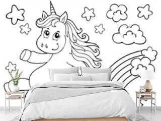 Coloring book cute unicorn topic 2