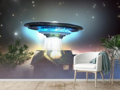 ufo flying saucer over the house, 3D render