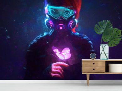 Digital illustration of cyberpunk girl in futuristic gas mask with protective glasses, filters in jacket looking at the glowing pink butterfly landed on her finger in a night scene with air pollution