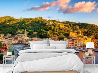 Portofino town on Liguria coast, Genoa, Italy, on sunrise