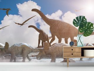 different dinosaurs on prehistoric background of nature, 3d render