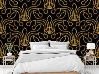 Art deco black and golden pattern.