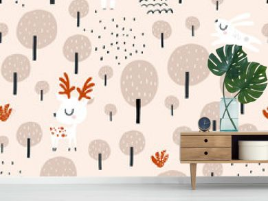 Seamless worest pattern with deer, bear, rabbit. Creative forest texture for fabric, wrapping, textile, wallpaper, apparel. Vector illustration