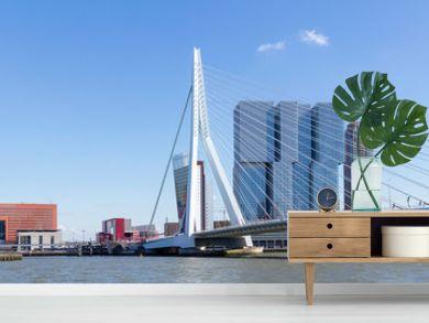 Erasmus Bridge And Skyline Of kop Van Zuid District In Rotterdam, Netherlands