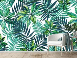 Seamless pattern. Tropical plant. Leaves on white background.  Watercolor drawing. For design, decoration,background, illustration, textiles, and Wallpapers.
