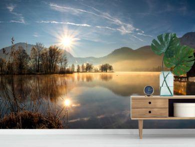 Idyllic Morning Sun view to the Bavarian Kochelsee