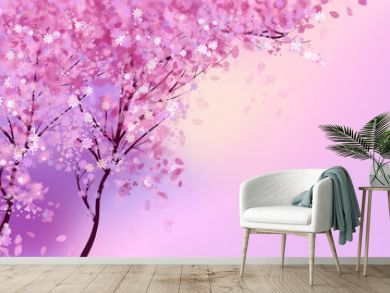 Pink blossom trees with flowers