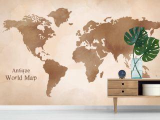 水彩 アンティーク世界地図 イラスト