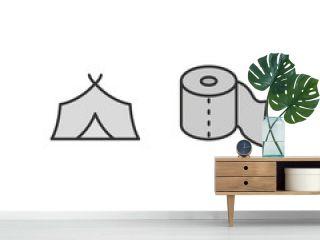 2 camping Icons Sheet Isolated On White Background...