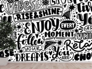 Lettering seamless pattern positive words. Sweet cute inspiration typography. For textile, wrapping paper, hand drawn style backgrounds