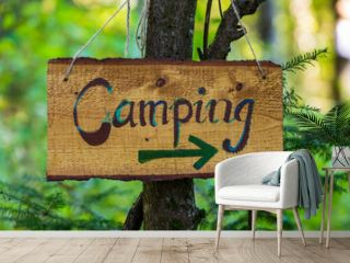 A soft focus closeup view of a handcrafted wood directional campsite sign, woodland camping during multicultural festival celebrating earth and nature