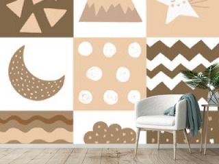Seamless geometrical pattern in scandinavian style with star, mountain, cloud, stripes, dots, moon. hand drawn shapes. Childish texture. Great for fabric, textile