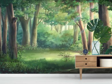 Light and forest - Day , Anime background , Illustration.