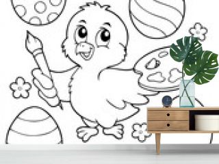 Coloring book Easter eggs and chicken 1
