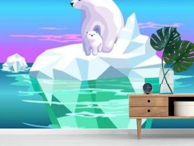 Polar Bear Mom and Baby on Iceberg Climate Change Vector Illustration