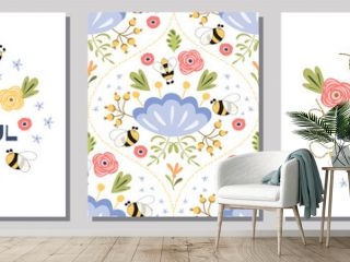 Love yourself quote about woman beauty Bee happy, be beautiful Cute phrase Girls banners set vector